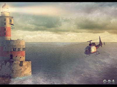 The Lighthouse - some Scene with a Lighthouse and a Helicopter - made with C4D.
